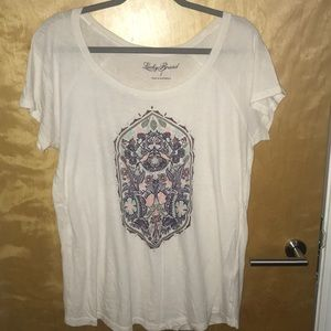 White Womens Lucky Brand Tee Size L